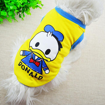 T Shirt Dog Donald Duck Pet Clothes Summer Cartoon Cheap Dog Clothes for Small Dogs Clothing Yorkie Chihuahua Funny Puppy Vest