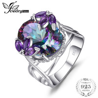 Brand New 12ct Genuine Rainbow Fire Mystic Topaz With Amethyst Solid 925 Sterling Silver Ring Vintage