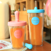 Creative Trend Straw Cup Students Adult Girls Heart Korean Version of Plastic Summer Cup in glass Stainless Steel Water Bottle