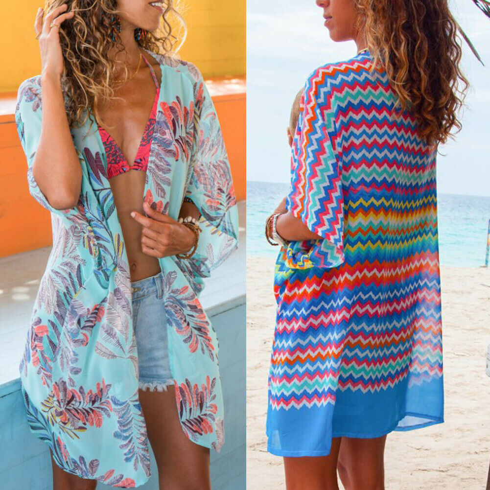 2019 Boho Chiffon Print Beach Cover Up Dress Tunic Long Pareos Bikinis Cover Ups Swim Cover Up Robe Plage Beachwear Beach Dress