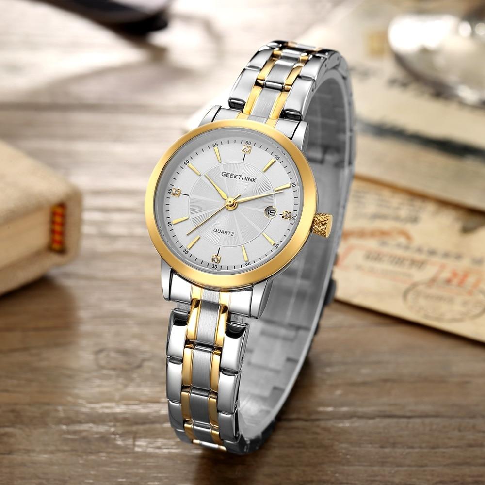GEEKTHINK Top Luxury Brand Edelstahl Quarzuhr Frauen Damen Armbanduhr Classsic Mode-liebhaber Geschenk Weibliche uhr NEUE