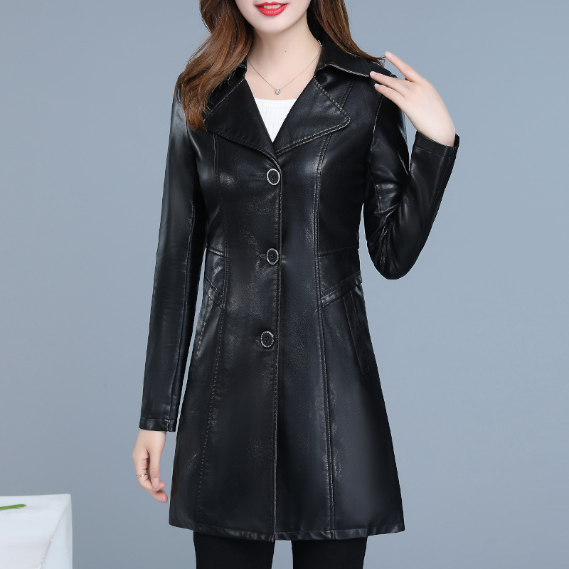 L-6XLWomen's   Leather   Jacket 2019 Winter New Women Coat Female Slim Turn Collar PU   Leather   Jacket HIgh Quality