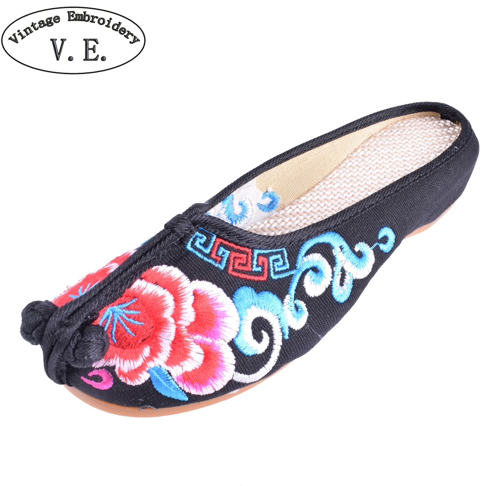 Old Peking Women Cloth Shoes Chinese Style Totem Flats Embroidery Casual  Slippers Red+Black Women Slippers smyxhx 10046 fashion casual chinese style hibiscus flowers embroidery soft flat shoes women s old peking national cloth shoes