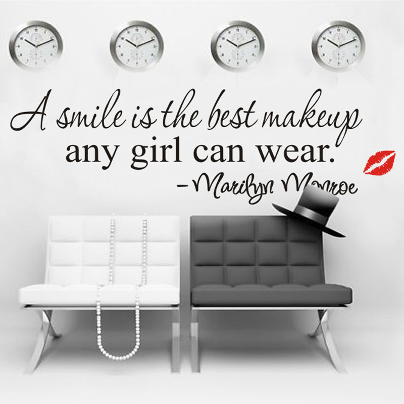 smile is the best make up wall decals vinyl wall stickers quotes