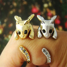 CHENGXUN Cat Lovers Kitty Rings Gold-tone, Crystal Eyes & Tail Jewelry Lady Girls Teens Wrap Finger Rings Costume Jewelry(China)