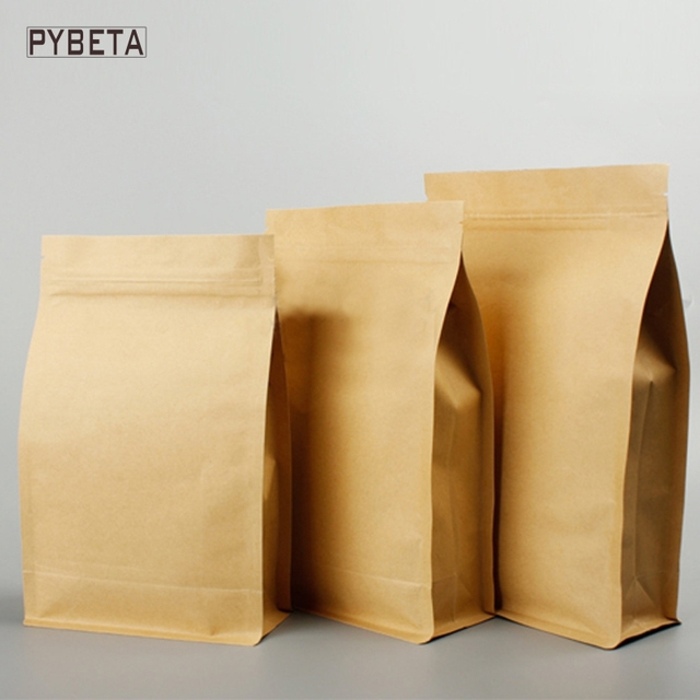 50pcslot 6 sizes available ziplock kraft paper side gusset bags 50pcslot 6 sizes available ziplock kraft paper side gusset bags with aluminum foil reheart Image collections