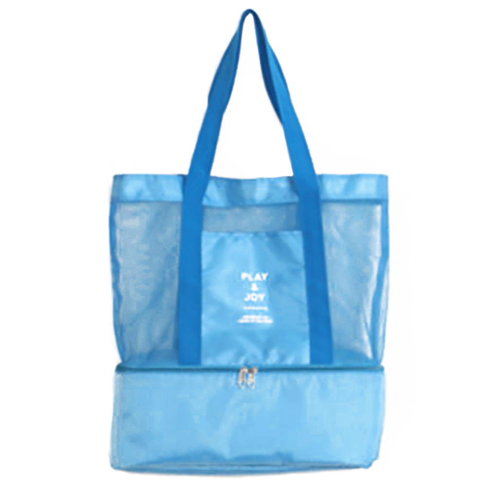 Women Picnic Insulated Cooler Lunch bag Mesh Tote Girls Beach Shoulder Lunch Bag High Capacity Food Drink Storage Carry Bag