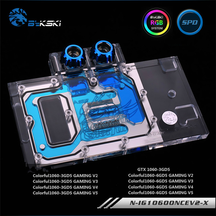 Bykski N-IG1060ONCEV2-X, Full Cover Graphics Card Water Cooling Block RGB/RBW for Colorful GTX1060 GAMINGBykski N-IG1060ONCEV2-X, Full Cover Graphics Card Water Cooling Block RGB/RBW for Colorful GTX1060 GAMING