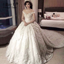 Wedding Dresses 2017 luxury Sheer Neck Applique Lace Pleated Ball Gown Wedding Handmade 3D Flowers Long