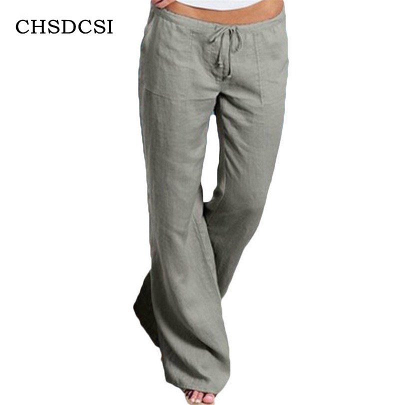 CHSDCSI Casual Trousers   Wide     Leg     Pants   Women Casual   Pants   Low Waist Fitness   Pant   Long New Solid Plus Size   Pants   5XL Streetwear