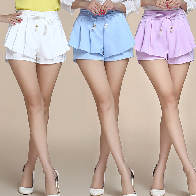 2016 Mulheres Da Moda Cores Doces Casuais Calções Patchwork Projeto Shorts Elastic Cintura Solta Shorts Moda feminina Com Cinto
