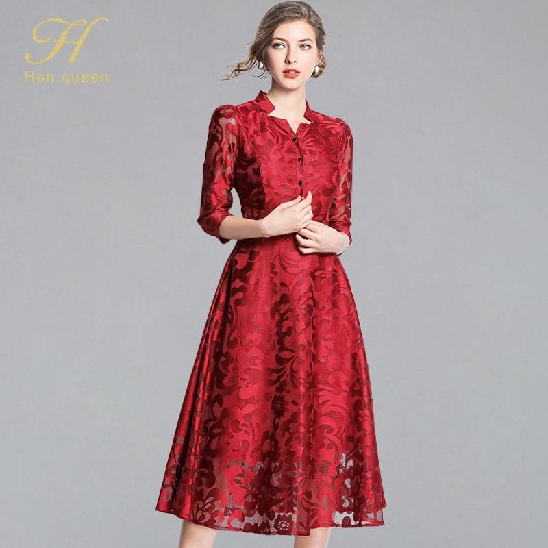 H han queen Vintage Blue/Red/Black Lace Dress Women Elegant A  line Femme Single breasted Long Dresses Hollow Out Casual  VestidosDresses
