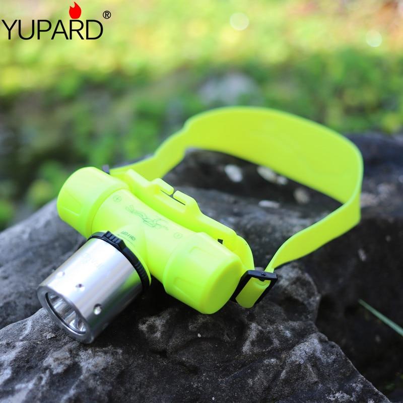 Yupard natación buceo 18650 batería AAA XM-L2 T6 LED Q5 LED linterna del faro de el faro de luz a prueba de agua