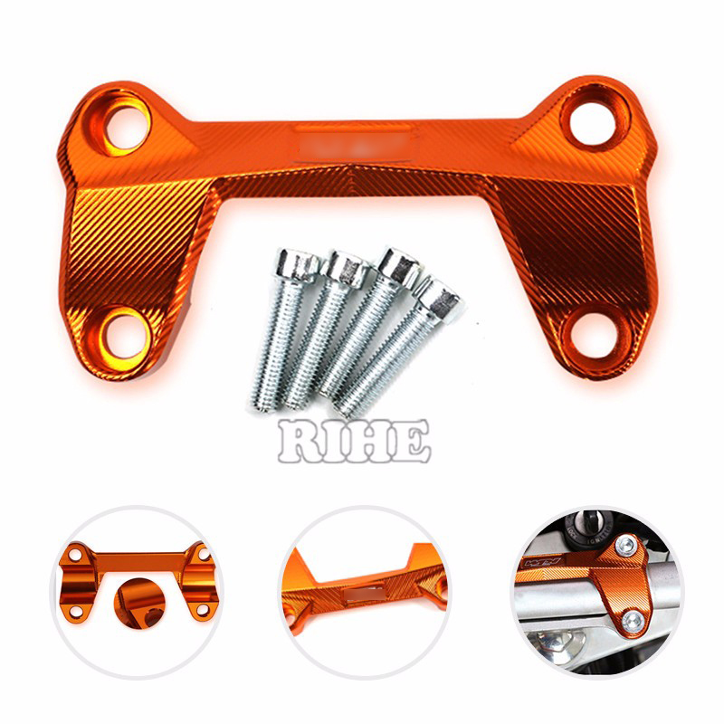 hot High Quality Motorcycle Accessories CNC Aluminum Handlebar Risers Top Cover Clamp Fit For KTM DUKE 390 200 125 with KTM logo motorcycle cnc balance bar for ktm 125 duke 200 duke 390 handle rebar handlebar modification parts accessories balance bar