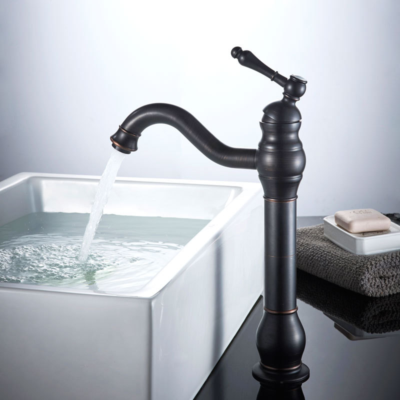 Black antique art cold and hot mixer basin faucets podium and podium on the high floor high hot brass, European retro faucet