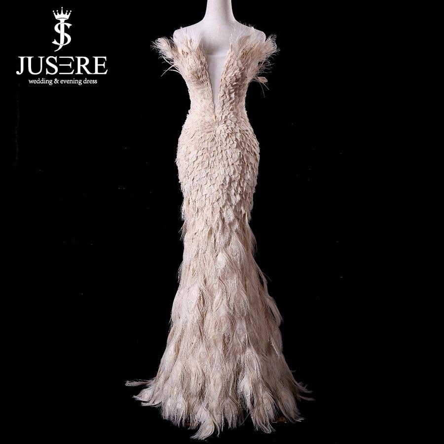 Off Shoulder Plugging V Neckline Zipper Up Back Floor Length Elegant Queen Luxury Feather Mermaid Champagne Evening Dress 2018