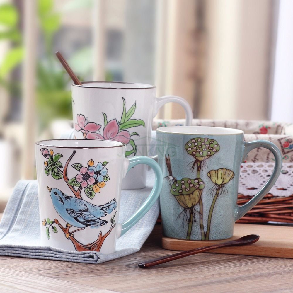 JANKNG 435mL Retro Ceramic Coffee Mugs Hand Painted Coffee Mug Cup Flower  Travel Mug Cup Birthday Gift Bird Lotus Milk Tea Cup-in Mugs from Home &  Garden on ...