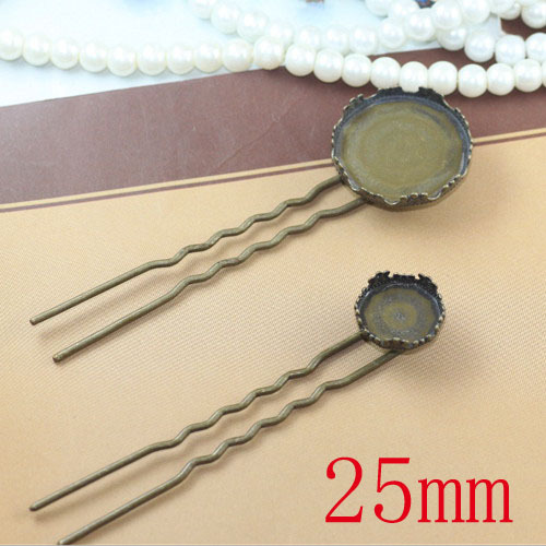 free shipping!!! 100pcslot 25mm crown hair clip blank.antique bronze hair pin,Long 90mm