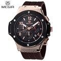 Megir marca mens militar relojes hombre 2016 de la nueva manera con estilo del ejército de goma calendario hombres reloj deportivo de lujo reloj militar