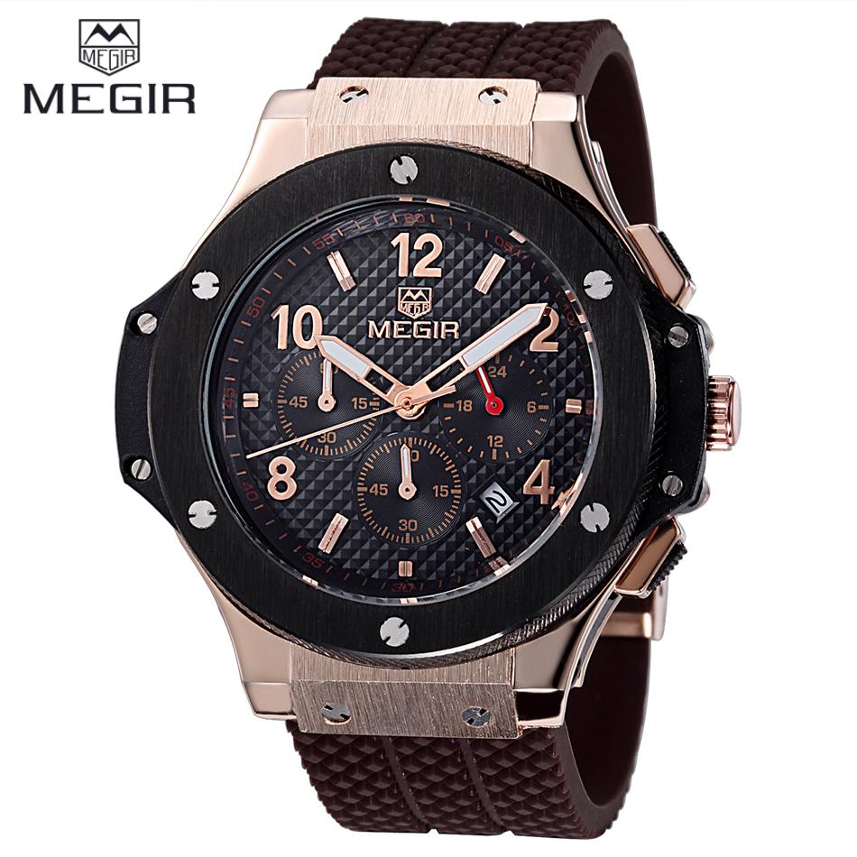 Prix pour Relojes hombre 2016 nouvelle mode militaire élégant MEGIR marque mens armée calendrier caoutchouc hommes mâle horloge sport de luxe montre militar