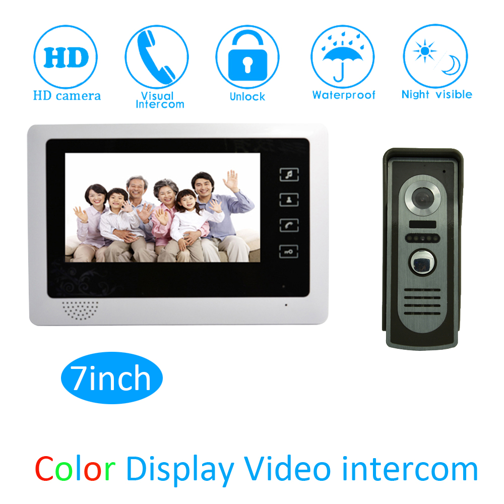 (1 Set) Touch keypad Monitor Door Access Intercom System HD Camera 7 Video Door Phone Waterproof Doorbell Calling System