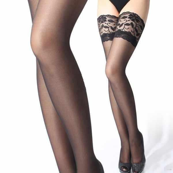 20a4550cefba4 6 Colors Female Black Stocking Hose Women Nylon Thigh High Knee Stockings  Slim Legs Thin Lace