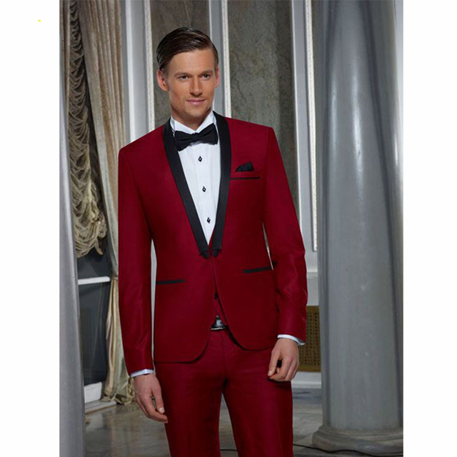 Red Wedding Tuxedo Jacket Custom Homme Men Suits With Pants Slim Fit Grooms Dress