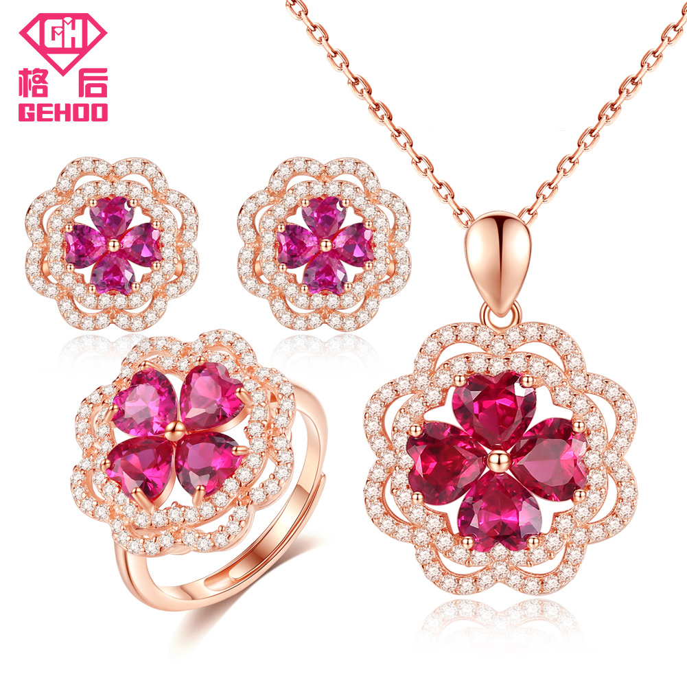 GEHOO Women Jewelry Sets Pretty Ruby Gemstone 925 Sterling Silver with Zircon Earrings Necklace Pendant Ring for Wedding Bridal a suit of chic faux ruby zircon geometric necklace and earrings for women