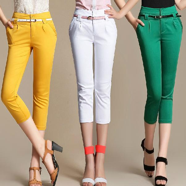 Plus Size 4XL   pants   elegant women slim casual high waist skinny   pants   female summer white yellow   capris