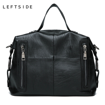 LEFTSIDE New Vintage Leather Handbag For Women 2018 Large Capacity Shoulder Bag  Female Luxury Big Handbags Tote Crossbody Bags handbag