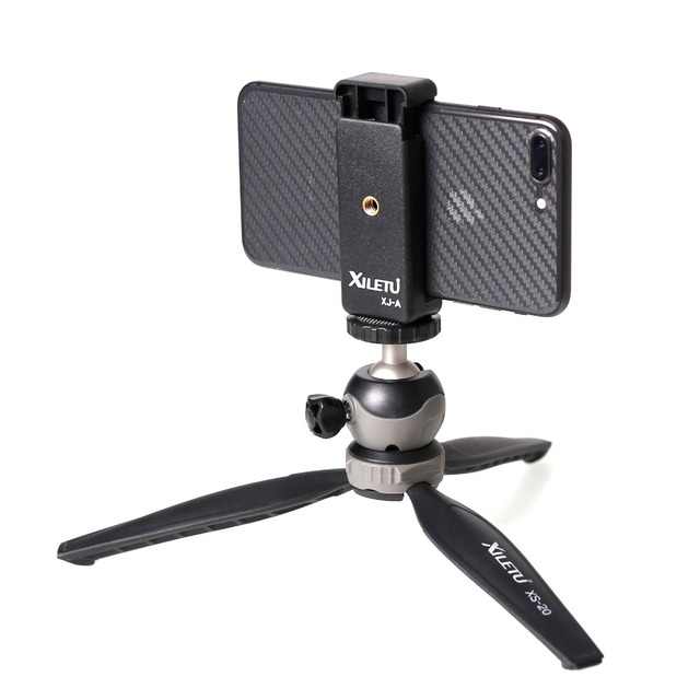 XILETU XS-20 Mini Desktop little Phone Stand Tabletop Tripod for Vlog Mirrorless Camera Smart phone with Detachable Ball head 4
