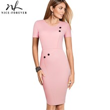 Nice-forever Vintage Brief Pure Color Wear to Work Zipper vestidos Business Party Bodycon Office Sheath Women Dress B502
