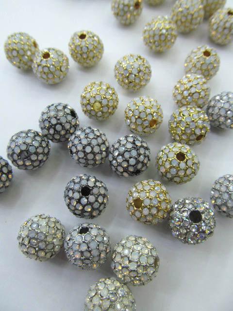 Top qualité 100 pièces 6 8 10 12mm Bling Pave opale cristal laiton entretoise boule ronde Gunmetal or Antique argent perles breloque