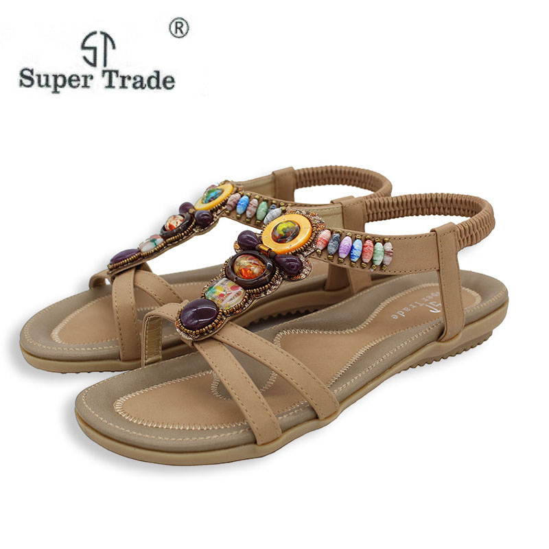 Free Shipping 2016 New National Style Women Sandals Bohemia Flats Beaded Size Foreign Trade Shoes Summer
