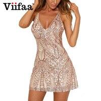 Viifaa רשת נצנצים שמלות נשים שמלות ערב המפלגה ללא משענת רצועת ספגטי אלגנטית צוואר V סקסי מועדון מיני בנות