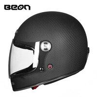 BEON Новый Мото rcycle шлем из углеродного волокна Материал ретро Полный лицо шлем сертификации ECE Сертифицированный casco мото внедорожный шлем