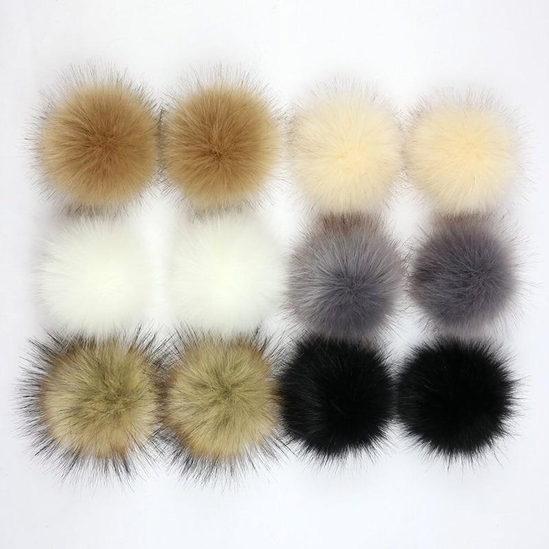 Pom-Pom-Ball Pompoms Beanies Faux-Fox-Fur Fluffy Handmade 10cm Keychain-Accessories