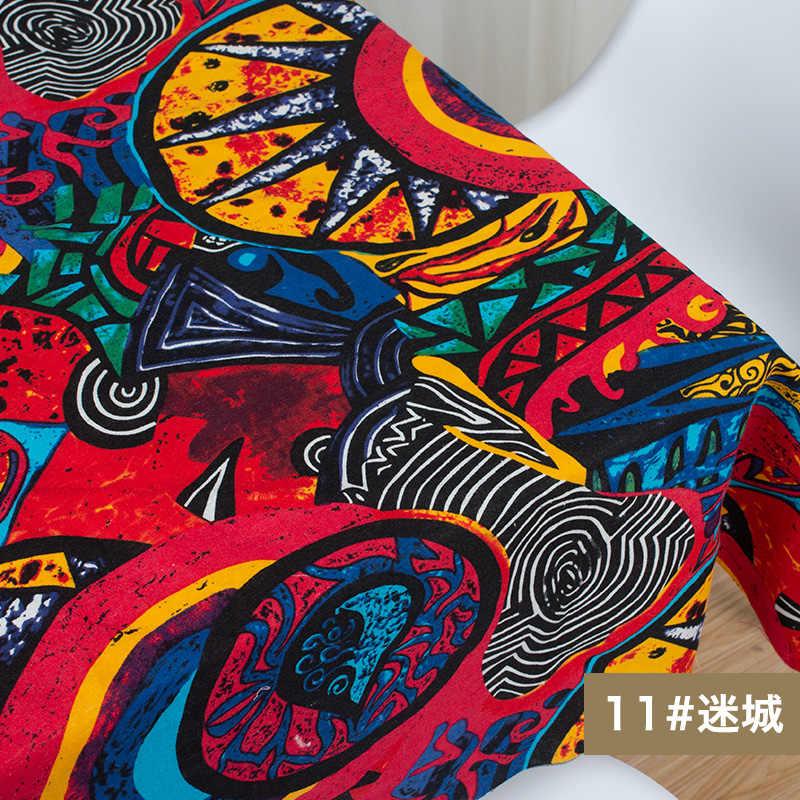 Tessuto africano lino in cotone stampa vintage panno fai da te tessuti fatti a mano cucito Patchwork per borse vestito tovaglia 150*50cm