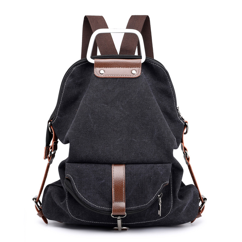 Ins Popular Korean New Term Multi-function High-capacity Canvas Fashion Hand Handle Double Shoulder School Bags For Women