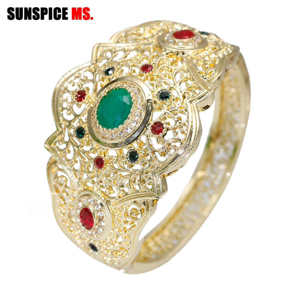 SUNSPICE MS Fashion Women Gold Color Bangle Caucasus Ethnic Wedding Bracelet Turkish Hollow Female Jewelry Indian Festival Gifts