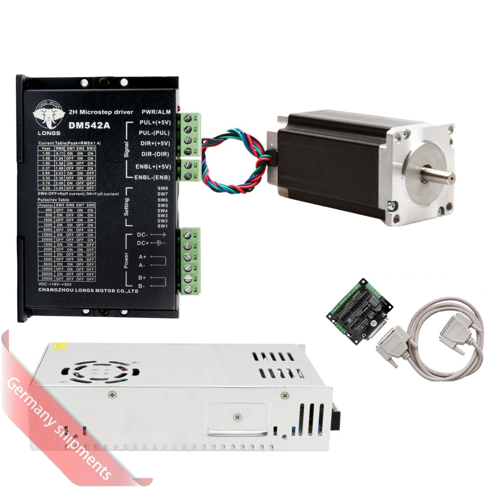EU Free Ship[3-8days ship] 1Axis Stepper Motor Nema23 4.2A 435oz.in High Torque with Driver <font><b>DM542A</b></font> Controller Board CNC kits image
