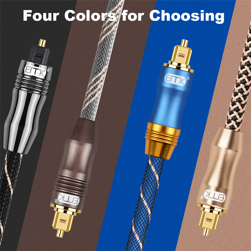Image 5 - EMK 5.1 Digital Sound SPDIF Optical Cable Toslink Cable Fiber Optical Audio Cable with braided jacket OD6.0 1m 2m 3m 10m 15m