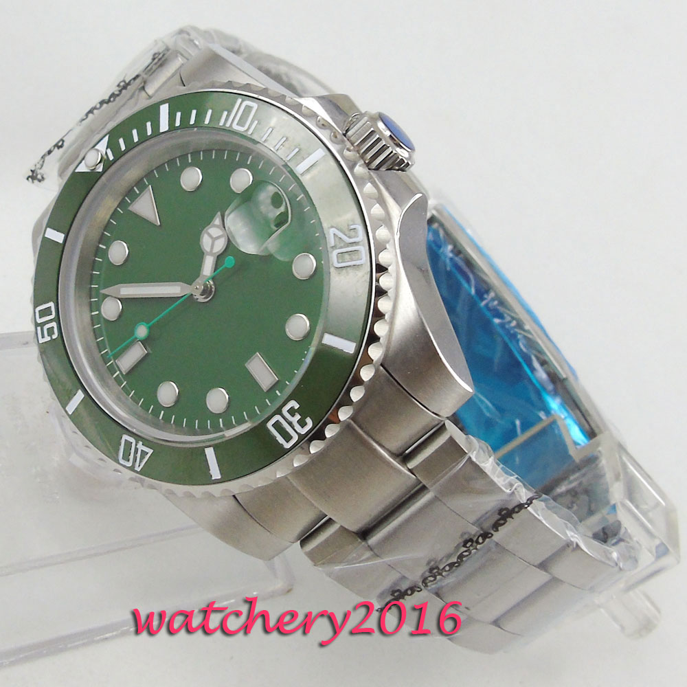 где купить NEW Arrival 43mm parnis Green Dial Sapphire Glass Sterile Date Window Steel Case Luxury Miyota Automatic Movement men's Watch по лучшей цене