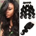 Malaysian Hair Body Wave 4 bundles With Closure 8A Malaysian Virgin Hair With Closure Cheap Bundles with Closure ali moda hair