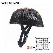 Motorcycle Half Helmet With Skull Gun Summer Scoop Burning Skull Cap Flat Novelt