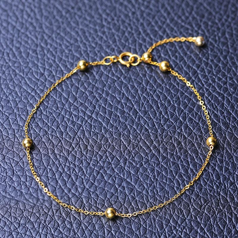 DAIMI pulsera de oro puro cadena satelital 18 K Cadena de cuentas de oro amarillo ajustable 18 cm pulsera de cadena de regalo de joyería - 5