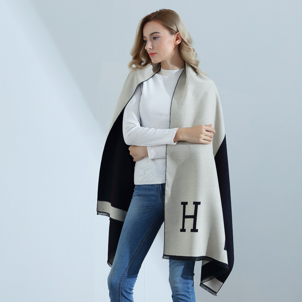 Hot Sale Fashion H Letter Spring Autumn Womens Scarves Pareo Wraps Soft Warm Cashmere Scarf Blankets Shawls Cloaks Free Shipping free shipping h letter blanket brand designer home blankets wool cashmere car travel portable blankets throw bed 158x138cm size