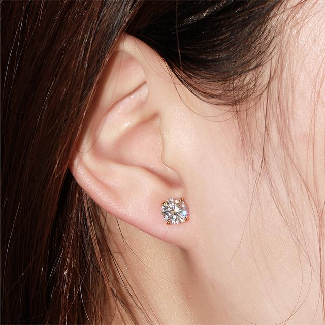 18K 750 Yellow Gold 2CT Lab Grown Moissanite Diamond Earrings