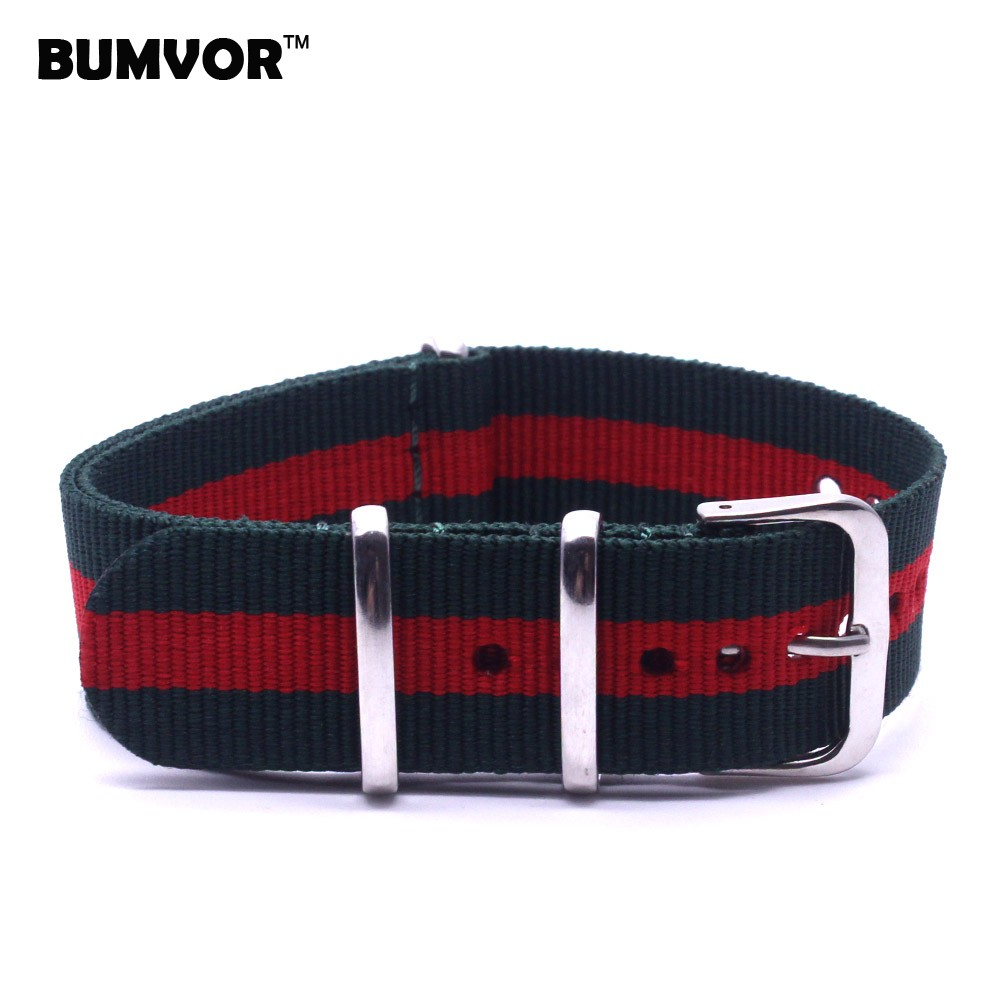 BUMVOR New 2018 Watch bracelet MultiColor Green Red Army Military nato fabric Woven Nylon watchbands Strap Band Buckle belt 22mm 1