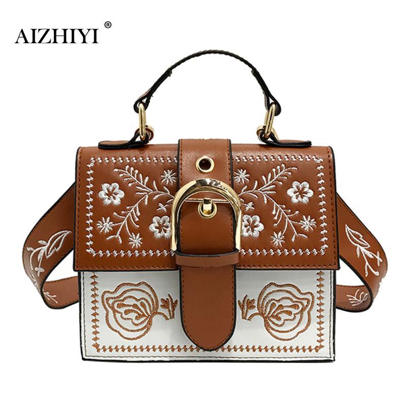 Fashion Korean Retro Vintage Mini Embroidery Bag Wild Strap Fashion PU Cross Small Square Shoulder Bags Designer Crossbody Bag